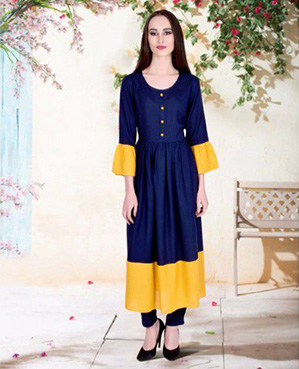 Rayon Blue & Mustard Plain Stitched Long Kurti
